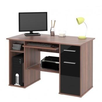 Počítačový stůl SAMUEL - ŠVESTKA / ČERNÁ (vysoká lesk)