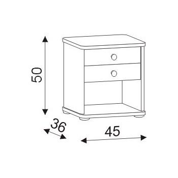 Noční stolek Robin 2 zásuvky HP 059, 45×50×36