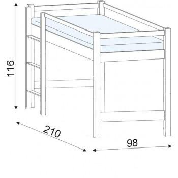 Lucas - postel zvýšená buk HP 101, 90×200
