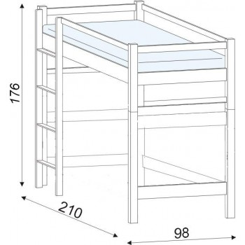 Lucas - horní spaní buk HP 102, 90×200