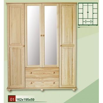 Borovicová šatní skříň 162 se zrcadlem - DM-KL-001, masiv borovice, Doprava ZDARMA