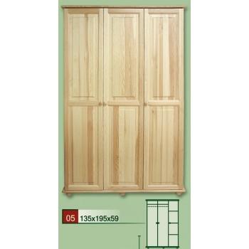 Třídveřová šatní skříň 135 - DM-KL-005, masiv borovice,  Doprava ZDARMA