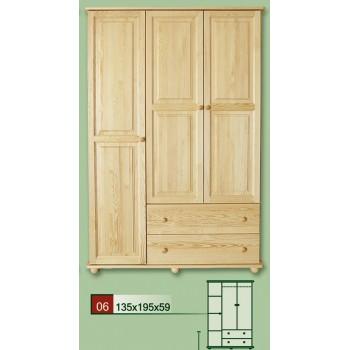 Třídveřová šatní skříň se zásuvkami 135 - DM-KL-006, masiv borovice,  Doprava ZDARMA