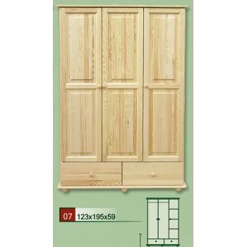 Třídveřová šatní skříň se zásuvkami 123 - DM-KL-007, masiv borovice,  Doprava ZDARMA