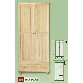 Dvoudveřová šatní skříň 90 - DM-KL-009-A, masiv borovice,  Doprava ZDARMA