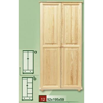 Dvoudveřová šatní skříň - DM-KL-012-A, masiv borovice,  Doprava ZDARMA