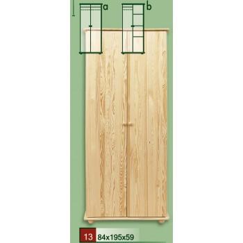 Dvoudveřová šatní skříň s hladkými dveřmi - DM-KL-013-A, masiv borovice,  Doprava ZDARMA