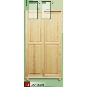 Dvoudveřová šatní skříň, frézované posuvné dveře - DM-KL-014-A, masiv borovice,  Doprava ZDARMA