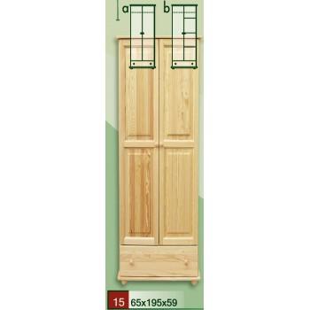 Dvoudveřová šatní skříň se zásuvkou - DM-KL-015-A, masiv borovice,  Doprava ZDARMA