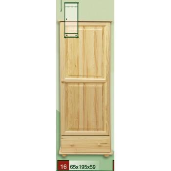 Šatní skříň jednodveřová se zásuvkou 60 - DM-KL-016, masiv borovice, Doprava ZDARMA