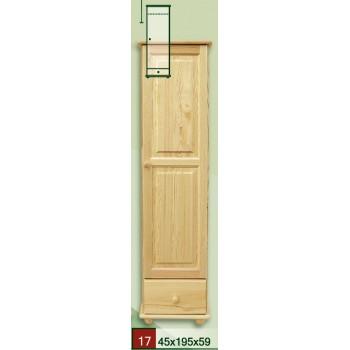 Jednodvěřová borovicová šatní skříň 40 - DM-KL-017, masiv borovice, Doprava ZDARMA