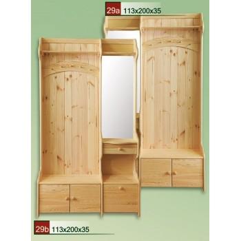 Předsíňová stěna se zrcadlem DM-KL-029, masiv borovice, Doprava ZDARMA