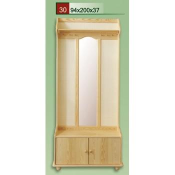 Předsíňová stěna se zrcadlem a ratanovou výplní - DM-KL-030, masiv borovice, Doprava ZDARMA