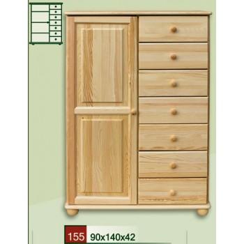 Prádelník 1+7 - Komoda kombinovaná DM-KL-155, masiv borovice, Doprava ZDARMA
