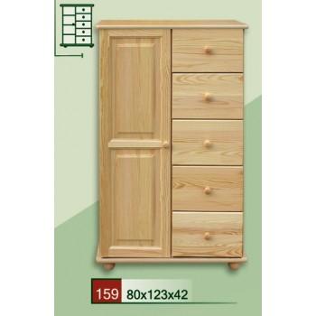 Prádelník na koulích - Komoda kombinovaná DM-KL-159, masiv borovice, Doprava ZDARMA