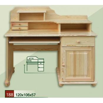 PC stůl - Psací stůl stylový s nádstavcem DM-KL-188, masiv borovice,  Doprava ZDARMA