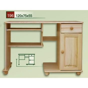 PC stůl C na koulích - DM-KL-196, masiv borovice,  Doprava ZDARMA