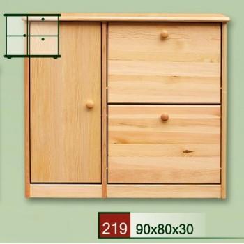 Výklopný botník se skříňkou - DM-KL-219, masiv borovice