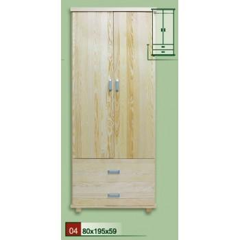 Dvojdveřová šatní skříň Mango DM-MA-004, masiv borovice, Doprava ZDARMA