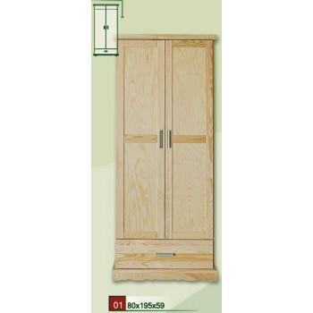 Šatní skříň se zásuvkou Modern DM-MO-001, masiv borovice, Doprava ZDARMA