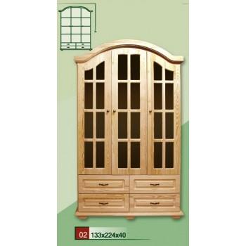 Stylová dřevěná Vitrína - Prosklená 3 dveřová skříň VENEZIA III - DM-VZ-002, masiv borovice, Doprava ZDARMA