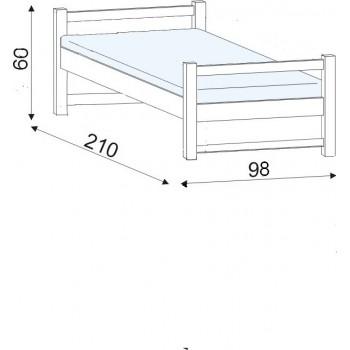 Lucas - jednolůžko  HP 100 , 90×200