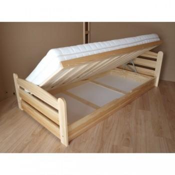 Zvýšená borovicová postel s výklopem - DETAIL