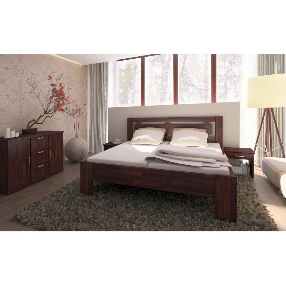 Manželská postel NAOMI SUPRA - moření OŘECH