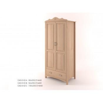 Stylová dvoudveřová šatní skříň se zásuvkou CASTELLO