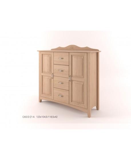 Stylová komoda kombinovaná - prádelník 2D+4Z CASTELLO  - POZOR - na obrázku DUBOVÁ varianta!!!!