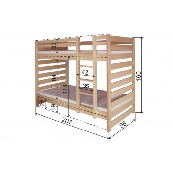 Patrová postel DM-KL-119 - Rozměry