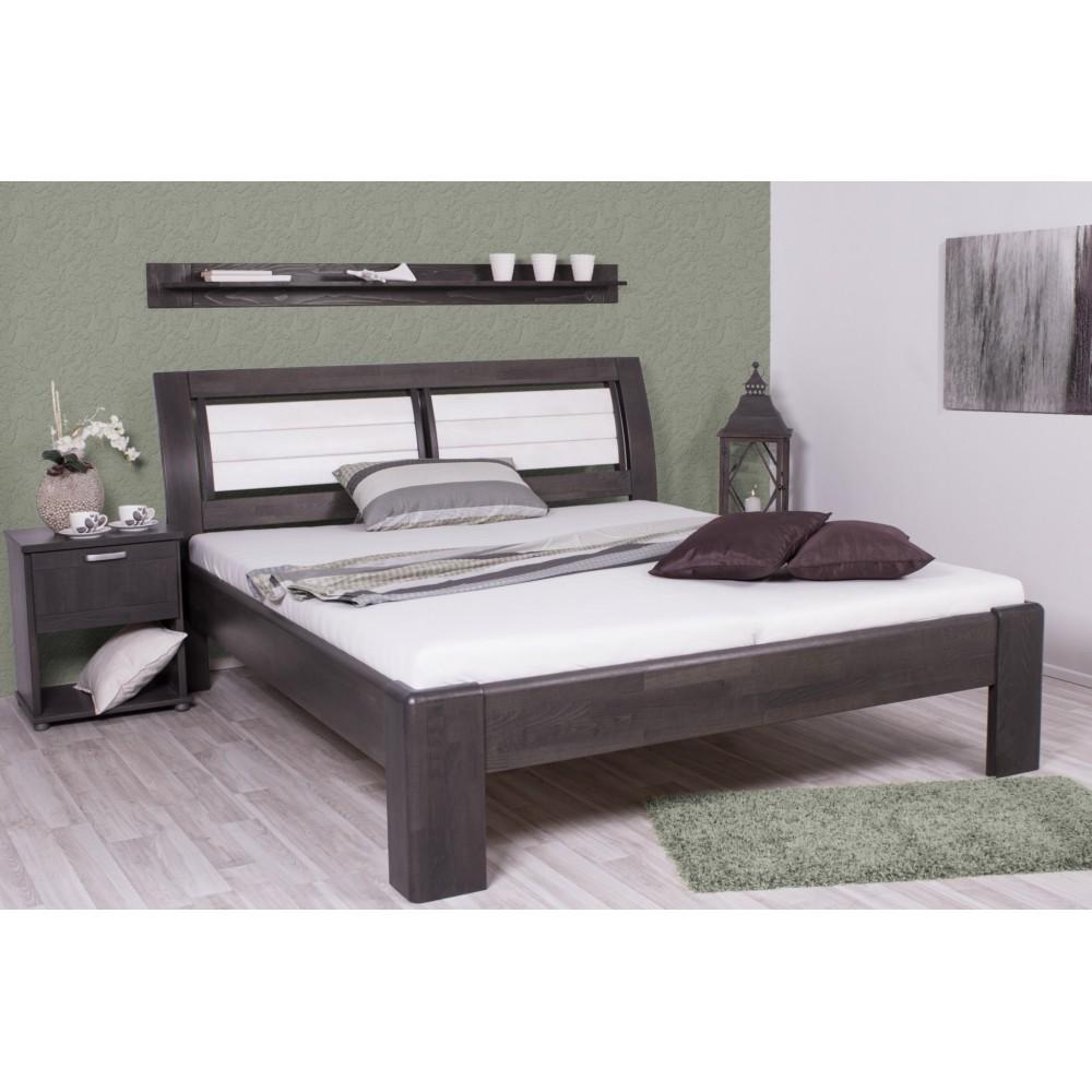 Luxusní manželská postel VALENCIA 169B - moření ANTRACIT + Bílá Transparentní