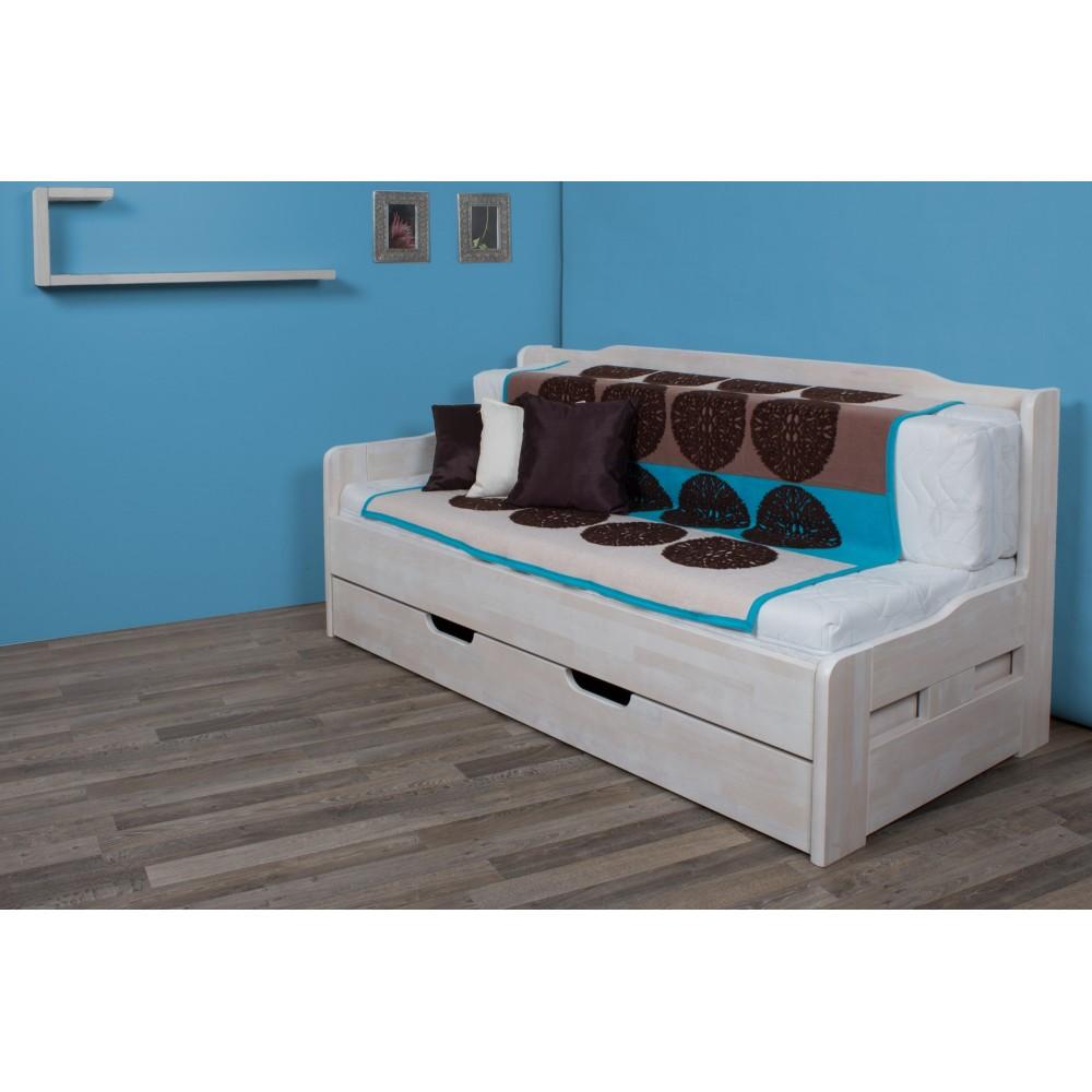 Roztahovací postel PARIS Twin - LEVÁ - mořeníBílá Transparentní