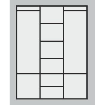 Třídveřová skříň ALFA 3D GRAND - Vnitřní uspořádání