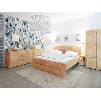Komoda GAMA 3D GRAND - moření KAŠTAN + postel TAISA