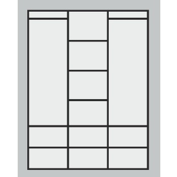 Třídveřová skříň ALFA 3D PRAKTIK - Vnitřní uspořádání