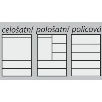 Pološatní skříň BETA 2D PRAKTIK - Vnitřní uspořádání