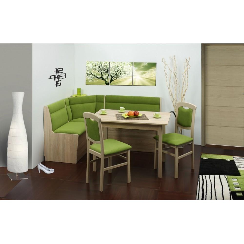 Rohová lavice BIG BOX + stůl HALLE + židle 871
