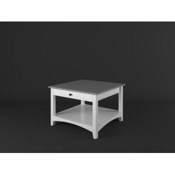 Stylový konferenční stůl se zásuvkou PROVENCE - BÍLÁ + ŠEDÁ