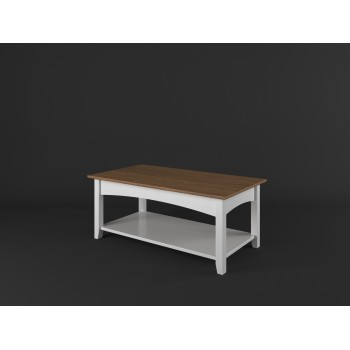 Stylový konferenční stolek obdélník PROVENCE - BÍLÁ + RUSTIKAL