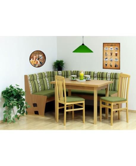 Rohová lavice BADEN + stůl bez roztahu HUGO + 2 židle RINGO