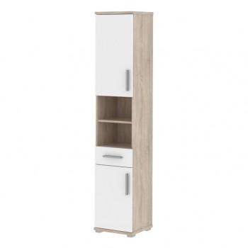 Koupelnová skříňka vysoká úzká LI05, sonoma, bílá