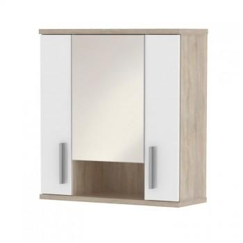 Koupelnová skříňka horní se zrcadlem LI01, sonoma, bílá