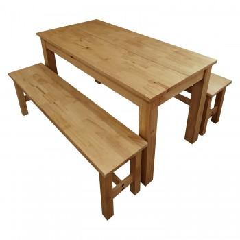 Stůl 140×70 + 2 lavice CORONA 11662 vosk, doprava ZDARMA