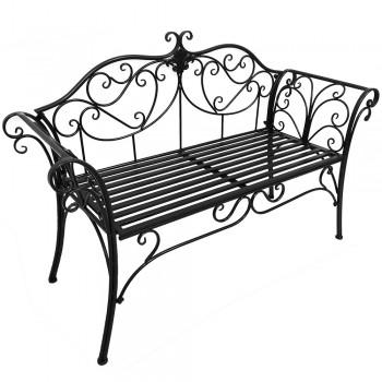 Zahradní lavička ETELIA, kov bílá, kov černá