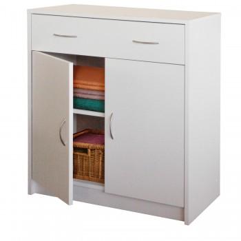 Prádelník s dvířky 4123, bílá, buk
