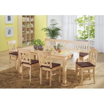 Lavice LINZ 180 cm + stůl LINZ + Židle LINZ + podsedáky LINZ