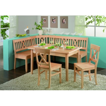 Rohový díl LINZ + rovné lavice LINZ + stůl LINZ + židle LINZ
