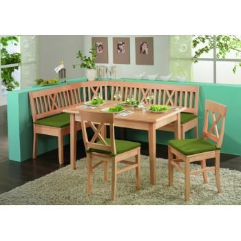 Dýhovaný jídelní stůl LINZ rozkládací + lavice LINZ + Rohový díl LINZ + Židle Linz + Sedáky LINZ